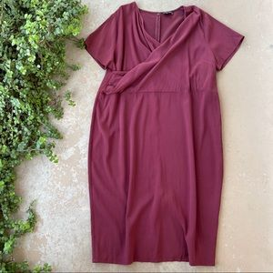 Universal Standard Plum Surplice Faux Wrap Dress